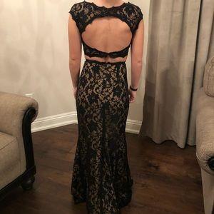 Jovani Black Lace Two Piece Prom Dress